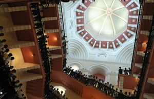 Taj Mahal Palace hotel: Hotel staff line the grand cantilever staircase
