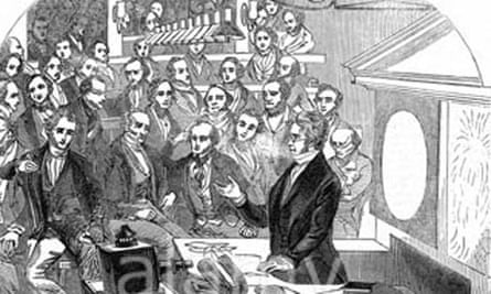 Michael Faraday lecturing on electricity and magnetism Royal Institution London 1846
