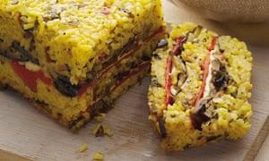 Vegiie recipe: Saffron Risotto Cake with grilled veg