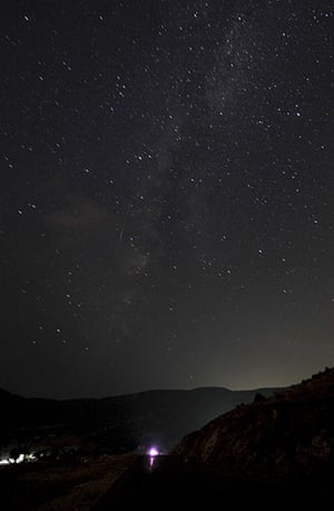 Perseid meteors: A meteor enters the earth's atmosphere during the Perseid meteor shower