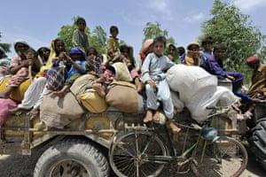 Pakistan Flood Disaster: Pakistani flood affected families arrive at a tent city