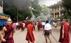 Confrontation as monks continue marches