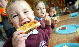 Pupils having breakfast in Wrexham