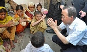 UN secretary general Ban Ki-moon meets young flood victims at a relief camp in Pakistan