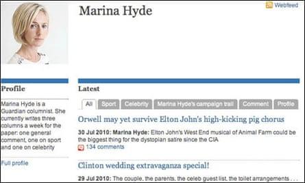 Marina Hyde's guardian.co.uk profile page