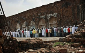 Ramadan: Muslims at Friday prayers at the Feroz Shah Kotla Mosque in New Delhi