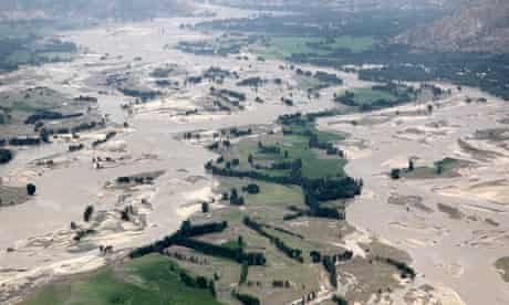 Aerial view of flood-damaged countryside in Ghazi