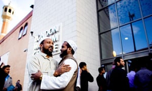 Three quarters of non muslims believe islam negative for britain muslim men greet each other outside whitechapel mosque in east london before friday prayers m4hsunfo