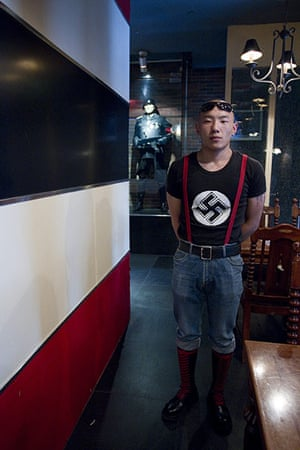 Mongolian neo-Nazis: A member of Tsagaan Khass or White Swastika at a Nazi-themed bar