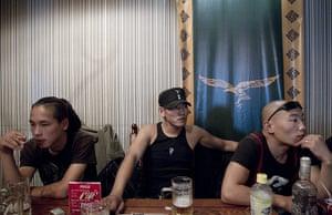 Mongolian neo-Nazis: Members of Tsagaan Khass or White Swastika at a Nazi-themed bar