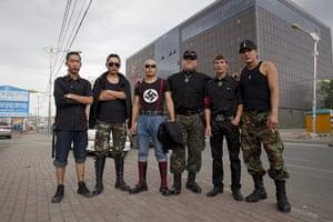 Mongolian neo-Nazis: Members of Tsagaan Khass or White Swastika in Ulan Bator