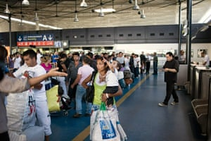 Roma deportation 2: Roma community arrive for boarding procedures at Charles de Gaulle airport