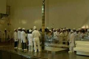 Nuclear Power in Iran: A TV grab shows engineers at the first nuclear power plant in Iran