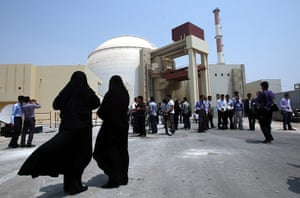 Nuclear Power in Iran: Iranian women security officials stand outside the Bushehr nuclear plant