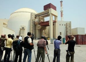 Nuclear Power in Iran: The media film the reactor building at the Bushehr nuclear power plant