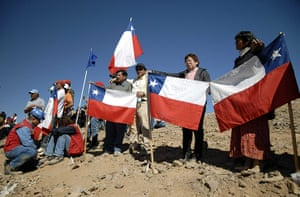 Chilean Trapped Miners: Relatives of trapped miners gather at the entrance to the mine