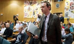 WikiLeaks founder Julian Assange attends a seminar in Stockholm