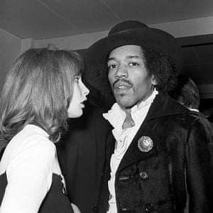 Hendrix Handel House: Jimi Hendrix with Kathy Etchingham at a record launch in London