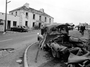 Claudy bombing:  Wreckage is seen outside the Beavpont Arms