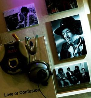 Hendrix Handel Exhibition: A portrait of guitarist Jimi Hendrix at Handel House museum