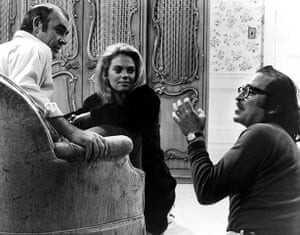 Sean Connery, Dyan Cannon and director Sidney Lumet on the set of The Anderson Tapes (1971).