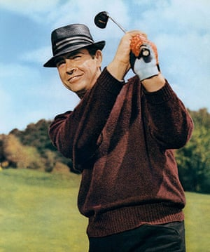 sean connery at 80: sean connery as james bond swings his golf club in goldfinger