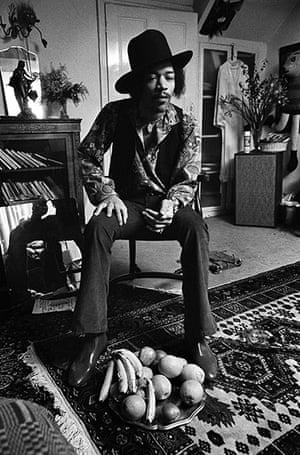 Jimi Hendrix: A shot of Hendrix at 23 Brook Street, wearing his famous 'Westerner' hat