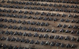 pakistan aftermath: Tents are seen from the air at a camp set up by the Pakistan Army