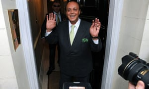 Asil Nadir arriving at his flat in Mayfair