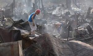russian fire update: Aftermath of a fire in Ostfievo village outside Moscow