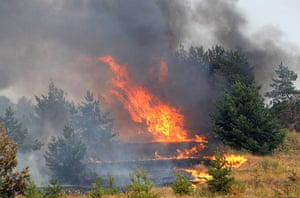 russian fire update: A forest is on fire outside the town of Novovoronezh, Russia