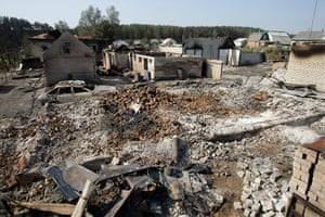 russian fire update: Ruin of houses destroyed by a forest fire at Shuberskoe, Russia