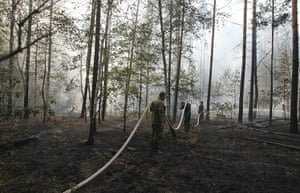 russian fire update: Russian firefighters work to put out fires in forests of Voronezh
