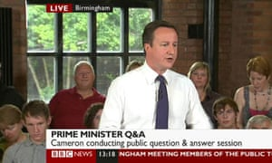 David Cameron answering questions from the public in Birmingham on 3 August 2010.