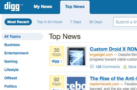 Digg screengrab