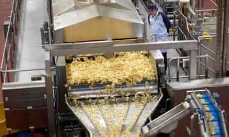 One of many production lines in a Walkers crisp factory.