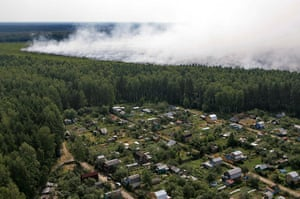 Russian wildfires: Aerial view of a forest fire