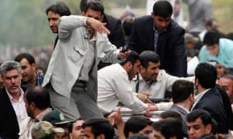 An explosion near Mahmoud Ahmadinejad in Hamadan, Iran
