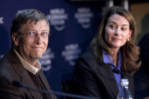 Giving Pledge: Bill Gates and Melinda French Gates at The World Economic Forum In Davos