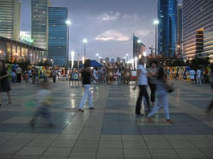 Astana: Astanans stroll among the malls, fountains and light displays