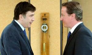 Georgia's President Mikheil Saakashvili meets David Cameron in Tbilisi