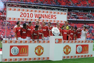 community shields 2: Manchester United celebrate after winning the FA Community Shield