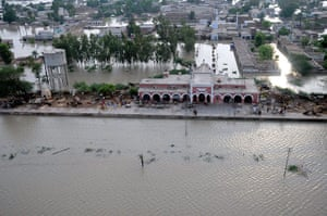 Pakistan aerial: Submerged railway station of Mehmood Kot in southern Punjab province