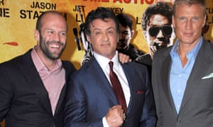 Sylvester Stallone with Jason Statham and Dolph Lundgren