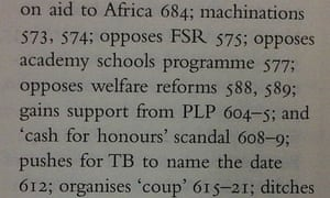 Index entries from Tony Blair's A Journey about Gordon Brown.