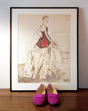 show & tell: Blahnik: Bouche sketch of Dior's New Look dress from 1948