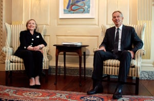 Washington talks: Tony Blair and Hillary Clinton at the State Department in Washington