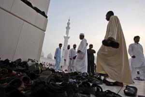 Eid begins: Muslim men at the Sheikh Zayed Ground Mosque in Abu Dhabi