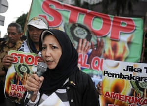 Qur'an Burning: A group of Indonesian Muslims and Christians rally at in Jakarta