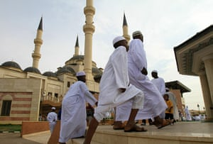 Eid begins: Sudanese men and children arrive for Eid Al-Fitr prayer in Omar Al-Mukhtar